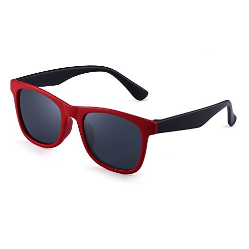 Polarized Kids Sunglasses Rubber Boys Girls Children Flexible Glasses Age 3-12 (Red Black/Polarized Grey)