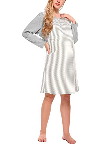 3e0208c38a3 Goldenfox Women s Sleep Dress Maternity Night Nursing Sleepwear Pajamas  (Gray