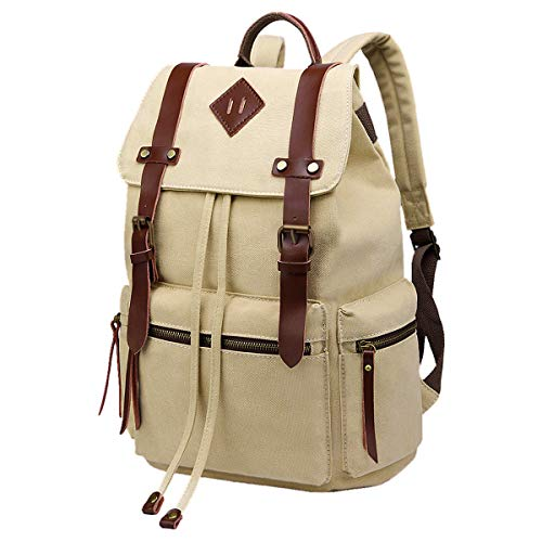 - BeautyWill Vintage Canvas Backpack Rucksack Casual Bookbag Unisex for College Travel Hiking Camping Men Women Student, Beige