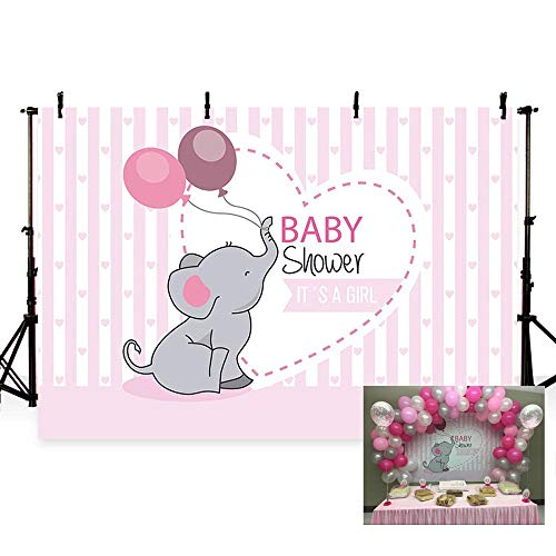 MEHOFOTO Girl Baby Shower Elephant Theme Photo Background Pink Stripe Princess Balloon Love Party Banner Backdrops for Photography 7x5ft