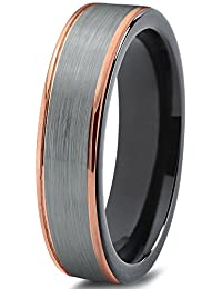 Tungsten Wedding Band Ring 6mm for Men Women Black & 18K Rose Gold Stepped Edge Polished Lifetime Guarantee