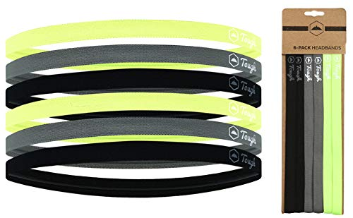 Mini Sports Headbands - 6 Pack Thin Head Bands for Men, Women & Kids - Stretchy Headbands with No Slip Grip - Perfect for Soccer, Basketball, Yoga, Running (2 Black / 2 Gray / 2 Hi Viz Yellow) ()