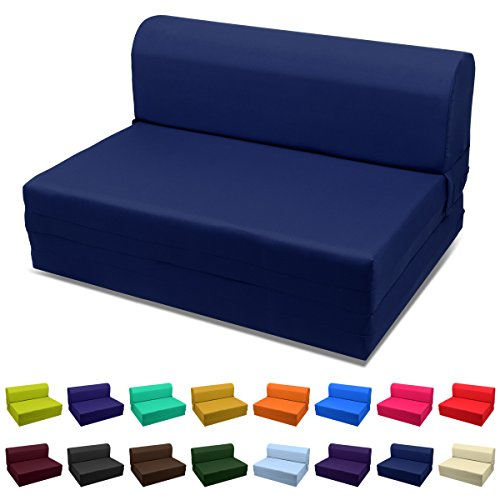 Magshion Futon Furniture Sleeper Chair Folding Foam Bed Choose Color & Sized Single,Twin or Full (Full (5x46x74), Navy Blue) - Full Futon Sleeper