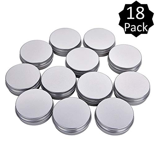 Fizz 2 Oz Aluminum Tins Cans Round Storage Jars Containers Screw Lids Metal Tins Travel Tins Cosmetic Refillable Containers,Pack of 18(Silver) ()