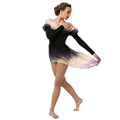 Contemporary Dance Costumes Black (Alexandra Collection Womens Belle Long Sleeve Skirted Lyrical Dress Dance Costume Black Small)