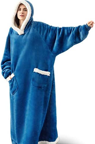 Bedsure Long Wearable Blanket, Sherpa Blanket Hoodie, Standard Blanket Sweatshirt with Deep Pockets and Sleeves for Adults Kids Teen, Teal
