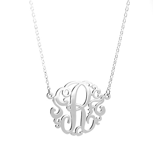 Deidreamers Sterling Silver Single Initial Monogram Necklace (Medium(20mm) / R)