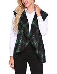Women's Lapel Open Front Sleeveless Plaid Vest Cardigan With Pockets