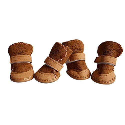 OOEOO Pet Dog Shoes, Lovely Puppy Cotton Shoes Winter Cashmere Snow Warm Walking Boots(Khaki,XXL) from OOEOO