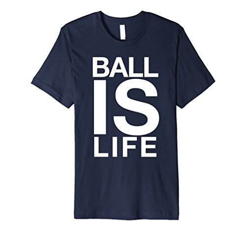 Mens Ball Is Life Logo T Shirt for Basketball Fans and Players 3XL Navy