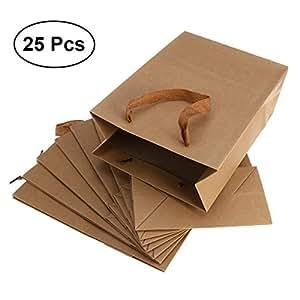 OUNONA - Bolsas de papel con asas planas (25 unidades, 20 x ...