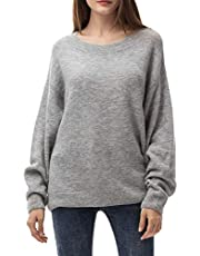 Woolen Bloom Pull Femme Grande Taille Pullover Oversize Ras du Cou Tricot Léger Hauts Chandail Gros Rayure Autumn Hiver Mode Chic