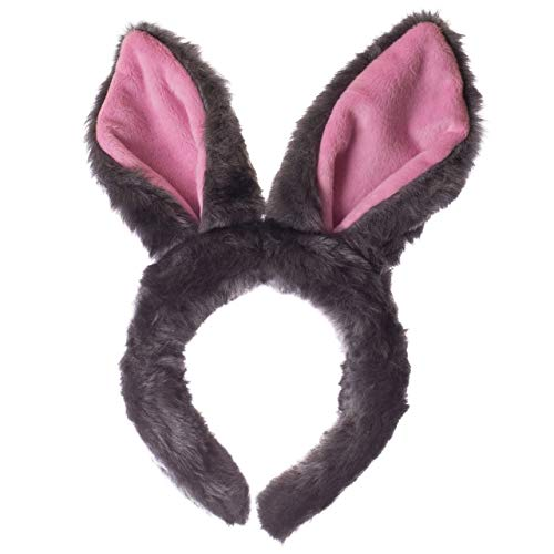 Wildlife Tree Plush Gray Rabbit Ears Headband Accessory for Bunny Costume, Cosplay, Pretend Animal Play or Forest Animal Costumes
