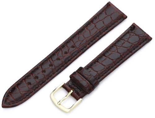 Hadley-Roma Men's MSM717RB 180 18-mm Brown Crocodile Grained Leather Watch Strap