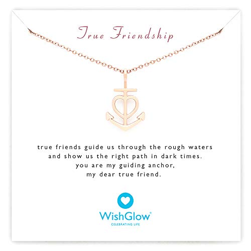 Womens Anchor - WishGlow True Friendship Love Anchor Gift Necklace, The Perfect Meaningful Gift for Friends (Birthdays, Holidays, Special Occasions), 18
