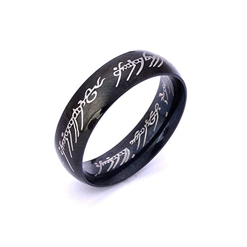 YuRocker Hobbit One Ring Lord Rings Size 6-13 Black Tone Wideth 6mm - Stainless Steel (Black, 9) (Lord Of The Rings Fire Pit Ring)