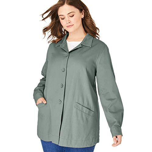 Woman Within Women's Plus Size Pleat-Back Denim Jacket - Pine, 2X ()