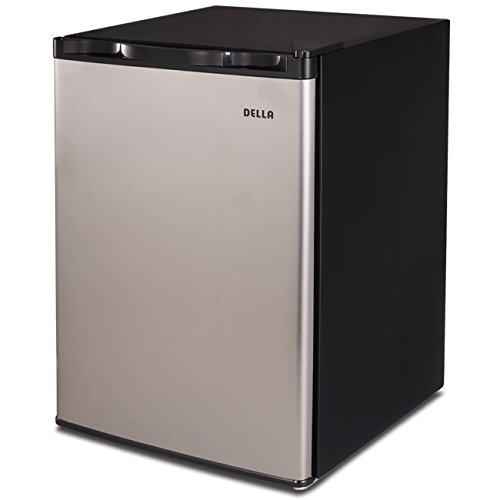 Della Mini Refrigerator Freezer Dorm Fridge 2.6 cu ft Office Compact Room Beer Cooler, Stainless Steel