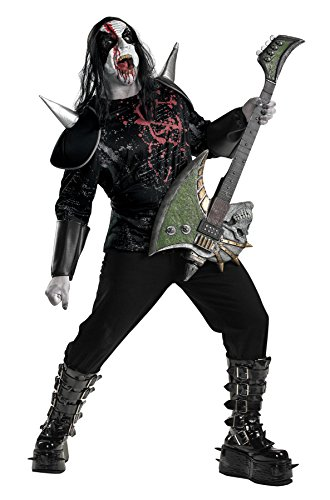UHC Men's Metal Mayhem Zombie Rockstar Outfit Halloween Plus Size Costume, Plus (50-52) (Black Metal Costume)