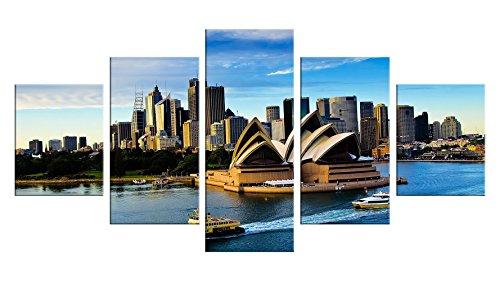 [Sydney Australia Canvas Wall Decor - 5 Pieces Appreciation Wall Art - Oil Painting - Unframed - Opera House Decoration #4] (Tutus Australia)