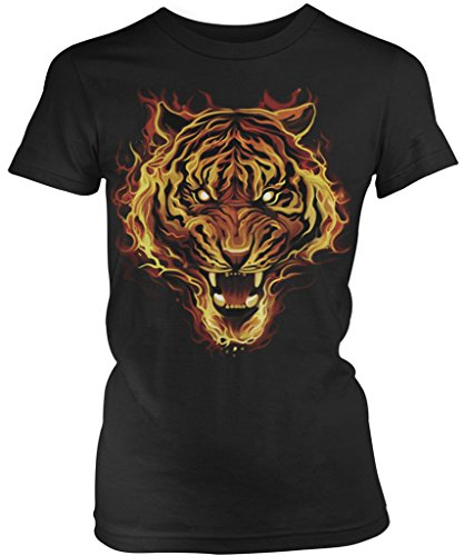 Amdesco Flaming Tiger, Tiger Made of Fire Junior's Ladies T-Shirt, Black Large