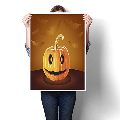 homehot Canvas Wall Art Pumpkin Halloween Smiley Face