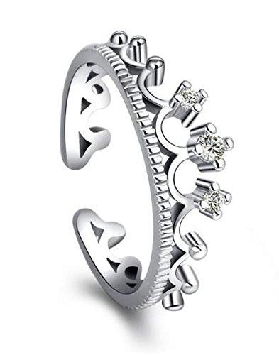 Karatcart Platinum Plated Elegant Austrian Crystal Crown Cut Adjust