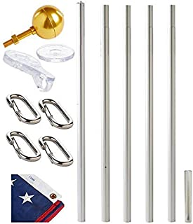 product image for Ezpole Flag Pole, Defender Flag Pole Kit for Two Flags, Aluminum and Stainless Steel Dual Flag Pole, 21-Feet