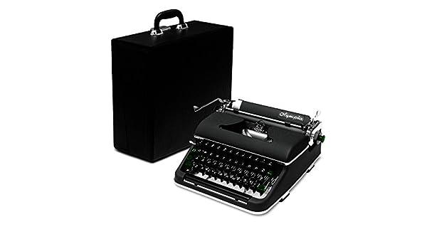 professionally-restored 1951 negro Olympia máquina de escribir SM2 diseño Vintage de portátil Manual Máquina de escribir con funda (similar a Olympia SM3 de ...