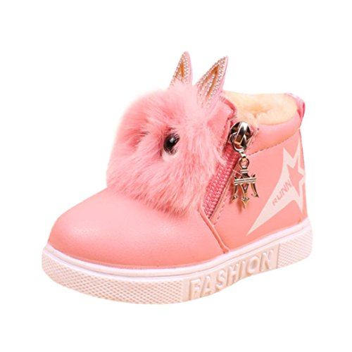Showking Baby Shoes, Boys Girls 1.5-6 Years Old Sneaker Boots Kids Warm Baby Casual Shoes (Age:5.5T, Pink) (2 Zipper Calf Sneaker Boot)