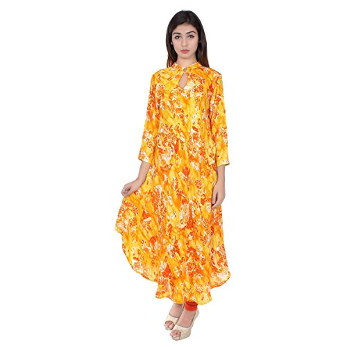 Chichi Indian Women Kurta Kurti 3/4 Sleeve XX-Large Size Floral Print Round Anarkali Yellow-Orange Top by CHI