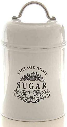 Aufbewahrungsdose Zucker Zuckerdose Vorratsdose Retro Keramik weiß blau