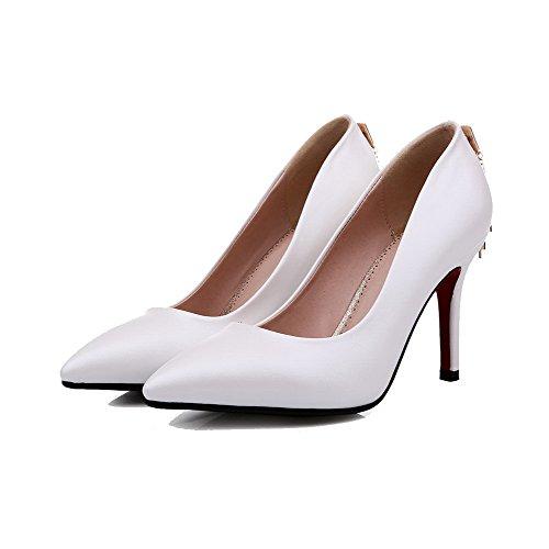 AllhqFashion Damen Spitz Zehe Hoher Absatz Weiches Material Eingelegt Ziehen auf Pumps Schuhe Weiß