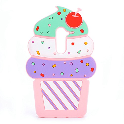 Cute 3D Cherry Ice Cream Silicone Soft Case Bumper Back Cover For smart cell phones (ZTE Grand X Max 2 /Max Duo LTE Z962G)