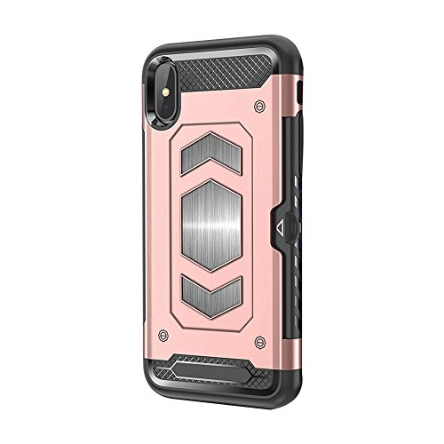 iPhone 7/8 Case iPhone 7 Plus/8 Plus Case Magnetic Dual Layer Wallet Card Slot Kick-Stand Armor Series Hybrid Case with Card Slot Slide&Magnetic Car Mount (iPhone 7 Plus, Rose Gold) - Kickstand Wrap Case