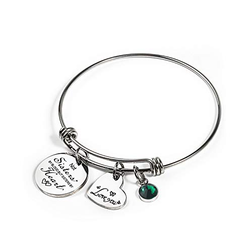 Haoze Not Sisters by Blood But Sisters by Heart Bracelet Bracelets 12 Months Color Birthstone and Elegant Butterfly Love Pendant Bracelet Sister Jewelry (May)