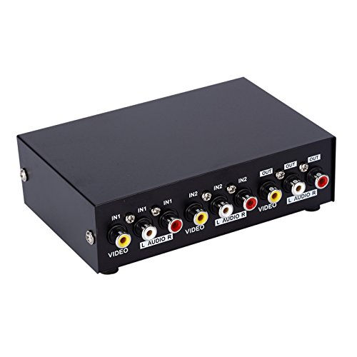 E-SDS 2-Way AV Switch RCA Switcher 2 In 1 Out Composite Video L/R Audio Selector Box for DVD STB Game (2 Composite Video Splitter)
