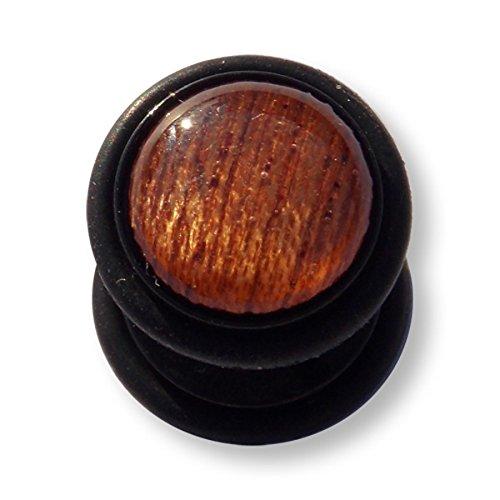 1 x Brown bois Wood Brun brune Wooden Gemstone Fake Plug Fakeplug Fakeplugs Boucles d'oreilles Barre grosseur 1,2mm