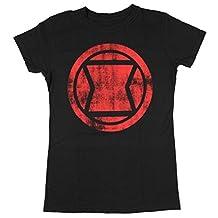 Black Widow - Womens Distressed Icon Women'S T-Shirt