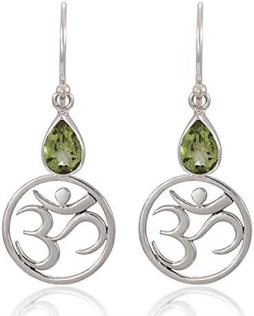 925 Sterling Silver Yoga, Om, Ohm Symbolic w/ Green Peridot Dangle Earrings - Nickel Free