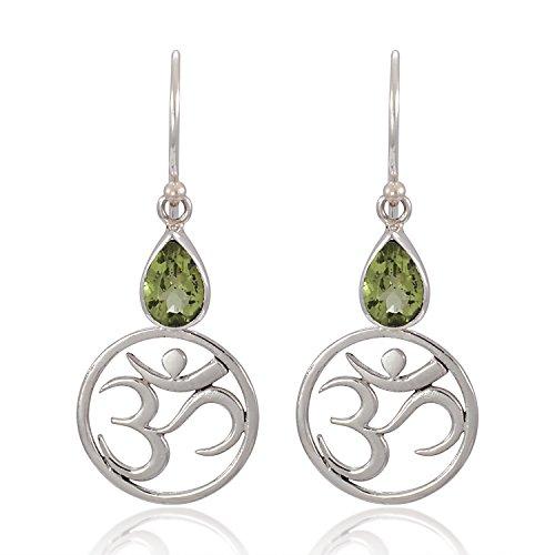 Green Peridot - 925 Sterling Silver Yoga, Om, Ohm Symbolic w/ Green Peridot Dangle Earrings - Nickel Free