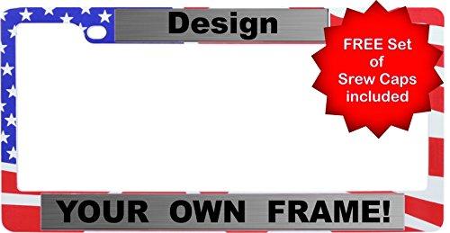 BestLicensePlateFrames Custom Personalized Patriotic American Flag Metal Car License Plate Frame with FREE caps - Steel/Black