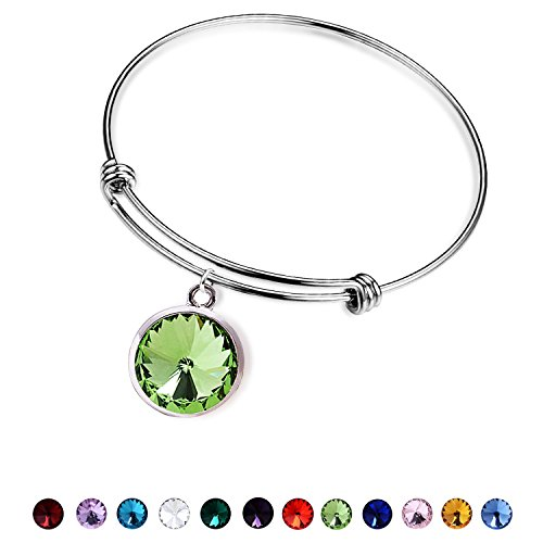 August Kids Charm (August Birthstone Bracelet for women-Silver Stainless Steel Peridot Crystal Adjustable Jewelry Charm Bangle Bracelets for Girls)