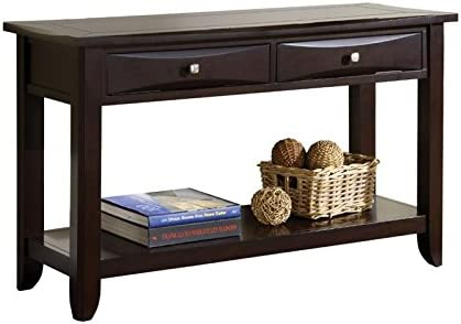 Furniture of America Bonner Transitional Wood Console Table in Espresso