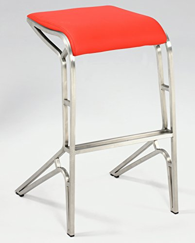 Chintaly Imports PU Backless Contemporary Counter Stools, Red
