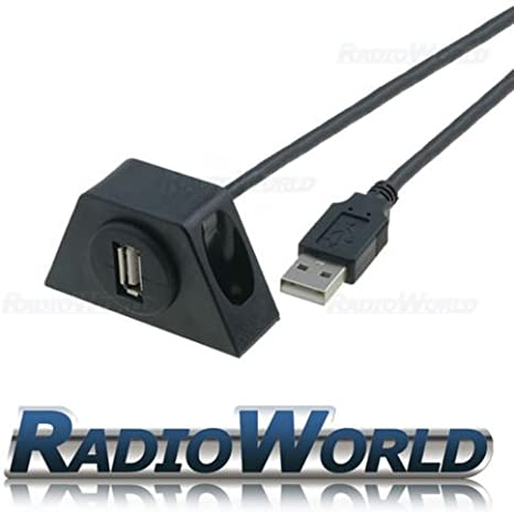 USB 2.0 In-Car Flush Mount Socket Extension Lead Cable Lead Adaptor Input