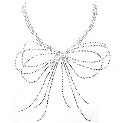 ransfer Hot Fix Motif Crystal Fashion Neck Line Ribbon 3 Sheets 9.4 10.2 Inch ()