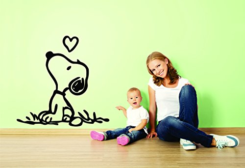 Charlie Brown and Snoopy Wall Vinyl Art Decal/Peanuts Cartoon Kids Bedroom Stickers Decals/Childs TV Characters/Patty Shermy Snoopy Violet Gray Linus Van Pelt/Grass Size 15X20inch