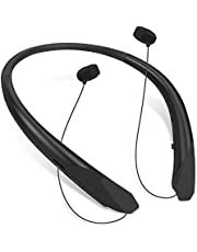 Bluetooth Neckband Headphones Retractable, Wireless Headset Retractable Earphones Noise Cancelling Sweatproof Stereo Earbuds with Mic by NVOPERANG (Rubber Black)