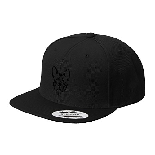 French Bulldog Silhouette Embroidered Flat Visor Snapback Hat Black - French Silhouette Bulldog